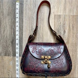 Hand Tooled Burgundy Leather Embossed Shoulder Bag